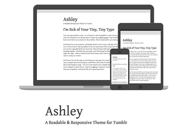 Ashley - Minimal Tumblr Theme