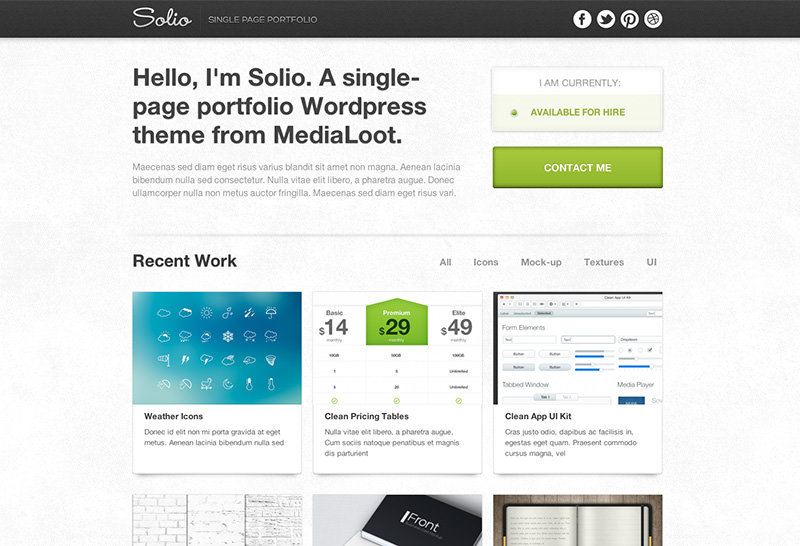 Single-Page Portfolio WordPress Theme