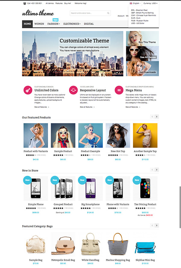 Cooles & Populäres Magento Template