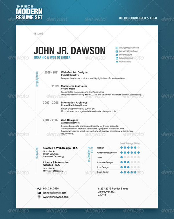 3-Seitiges Resume Template