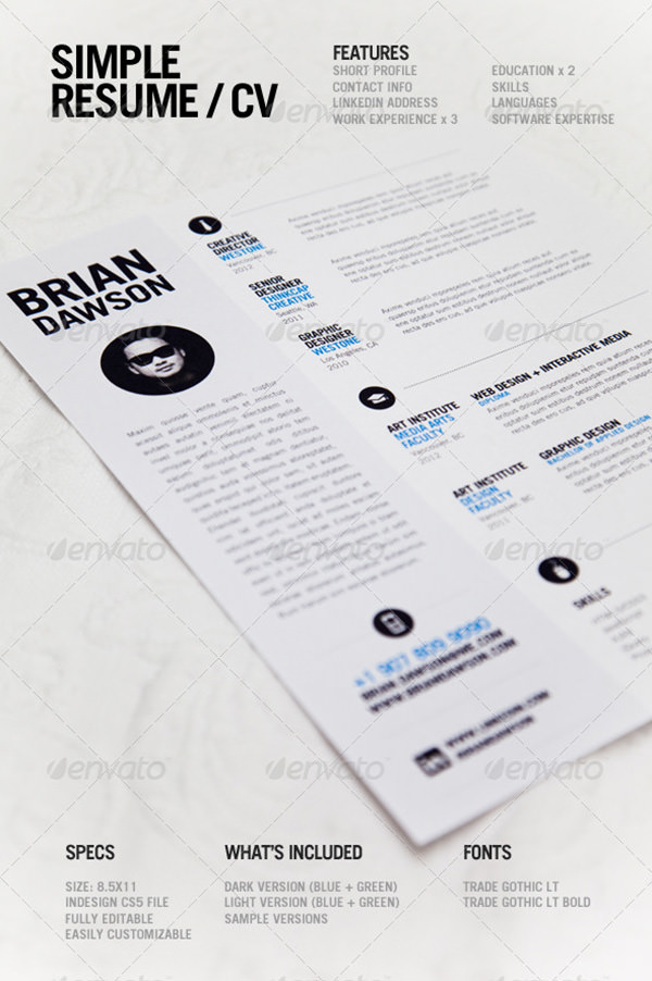 Simple Resume & CV Template
