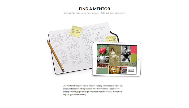 Minimales One Page Design - Mentoring for Creatives