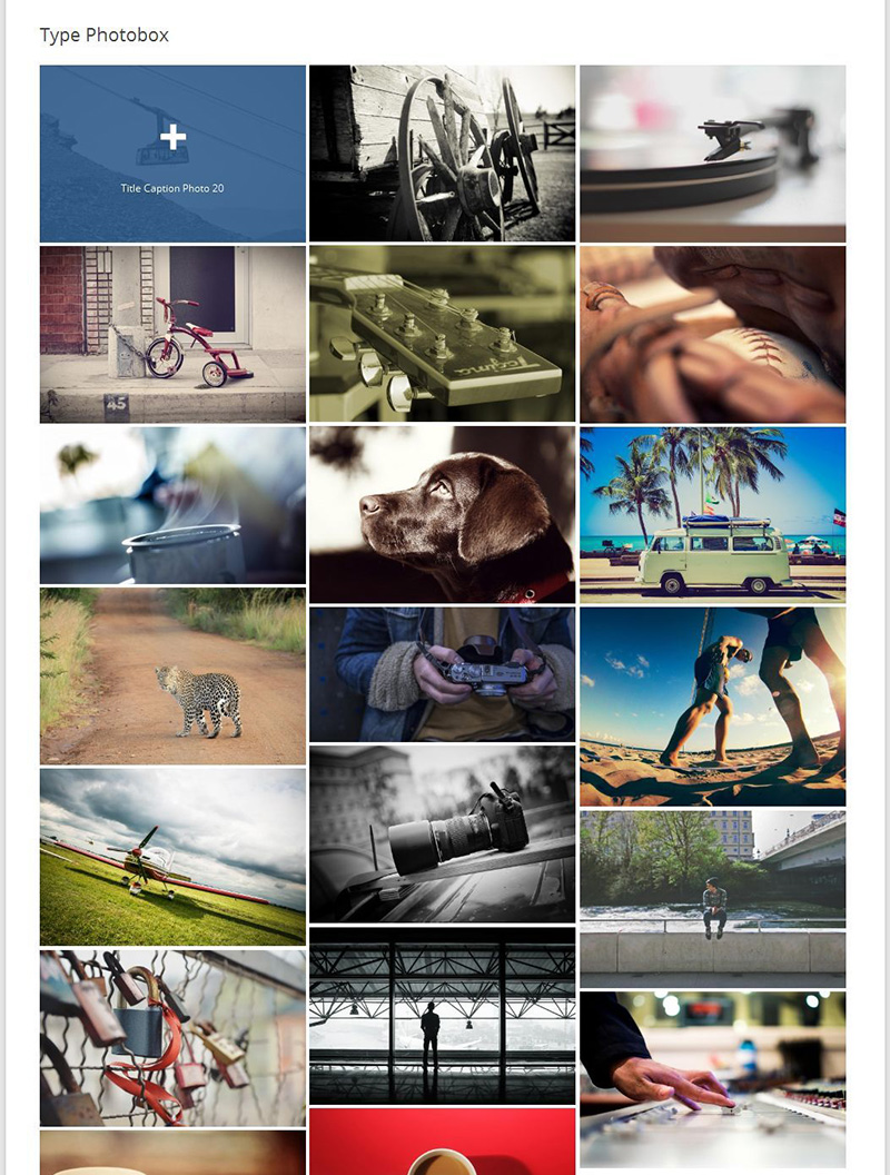 Image Photo Gallery WordPress Plugin mit 3 Spalten