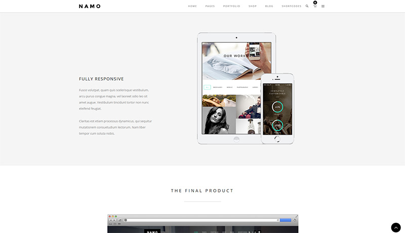 Single-Page des minimalistischen WordPress Portfolio Themes Namo