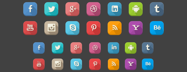 42 Social Icons - Long Shadow Style