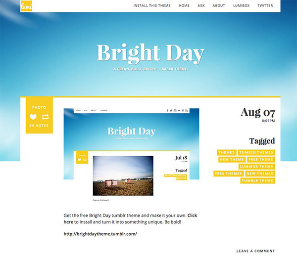 Bright Day - One-Column Tumblr Theme