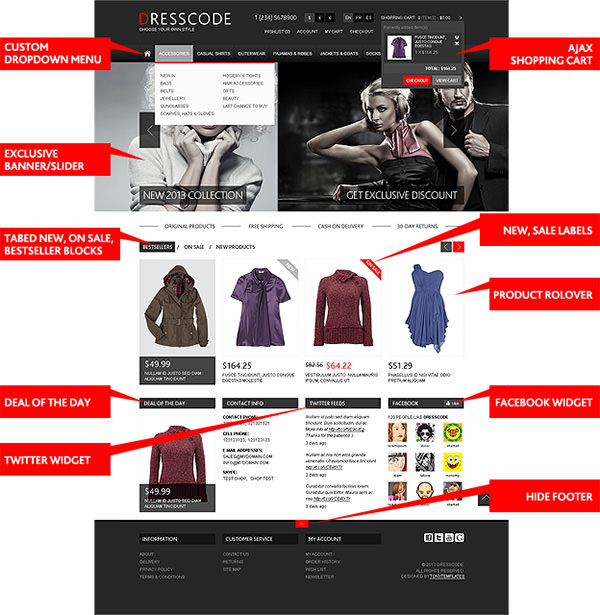 Ultra-Flexibles Magento Template mit Features
