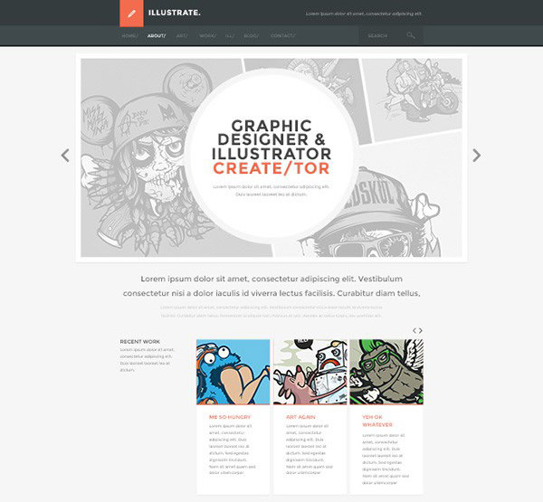 PSD Website Template mit Flat Webdesign