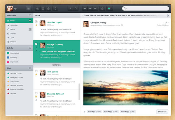 E-Mail-Client User-Interface PSD-File