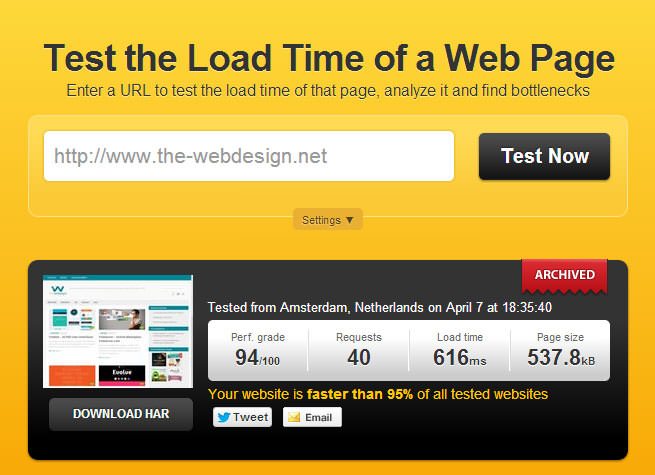 Pingdom Website Speed Test 94/100