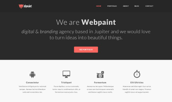 Business Website Template im Flat Design
