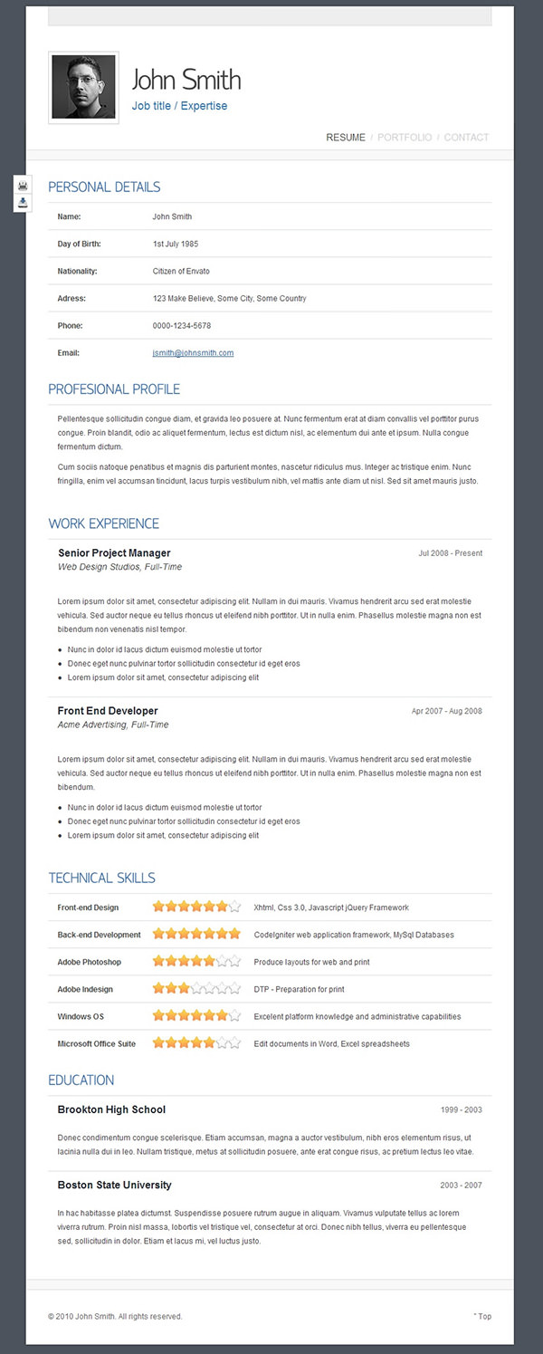 Schlichtes Website Resume Template