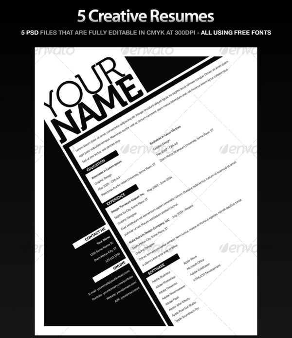 5 Resume Template - PSD Package