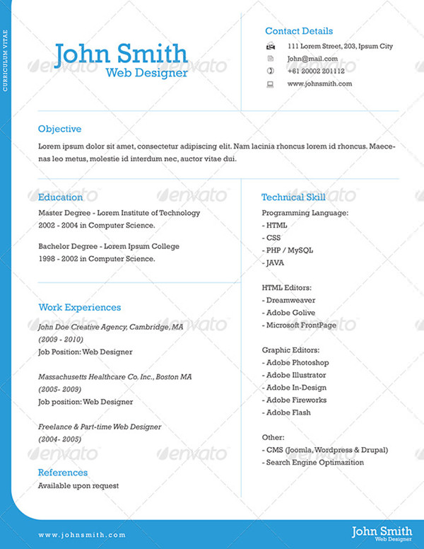 Einseitiges Resume & CV Template