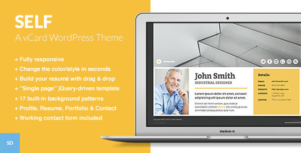 Self - vCard WordPress CV Template