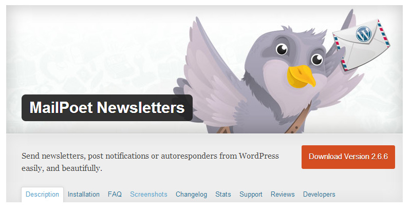 Free WordPress Plugin Mailpoet