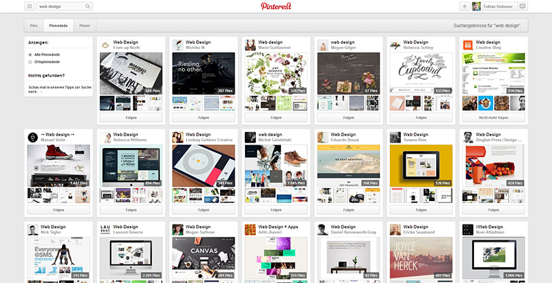 Pinterest - Web Design Boards