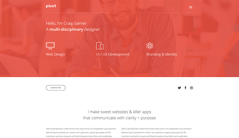 Developer & Designer Website Template mit Portfolio